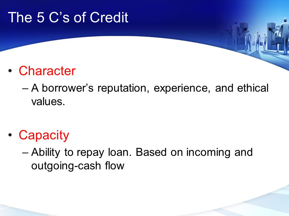 The 5 C's of Credit Character Capacity