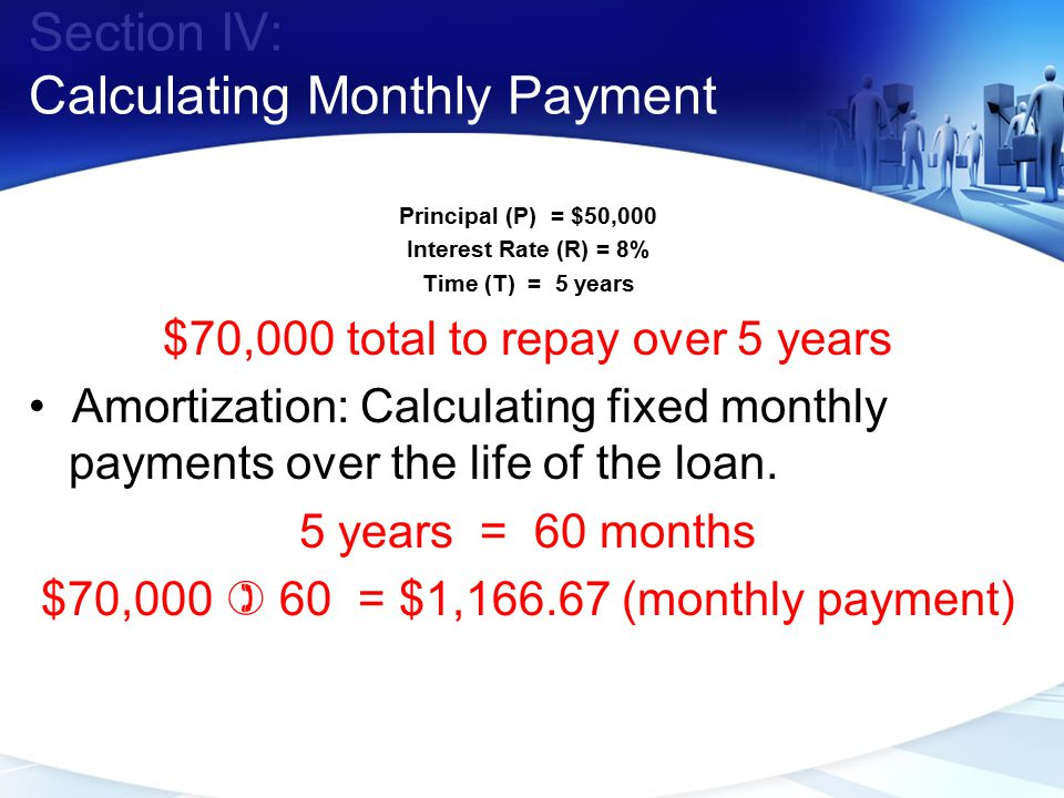 Section IV: Calculating Monthly Payment