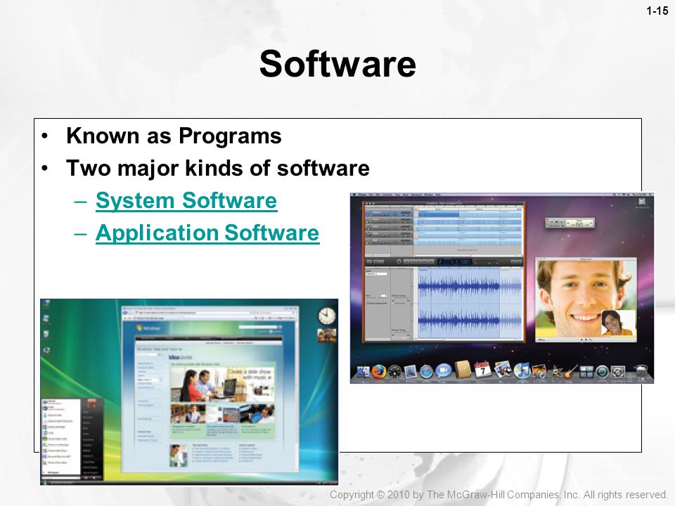 Software Known as Programs Two major kinds of software System Software