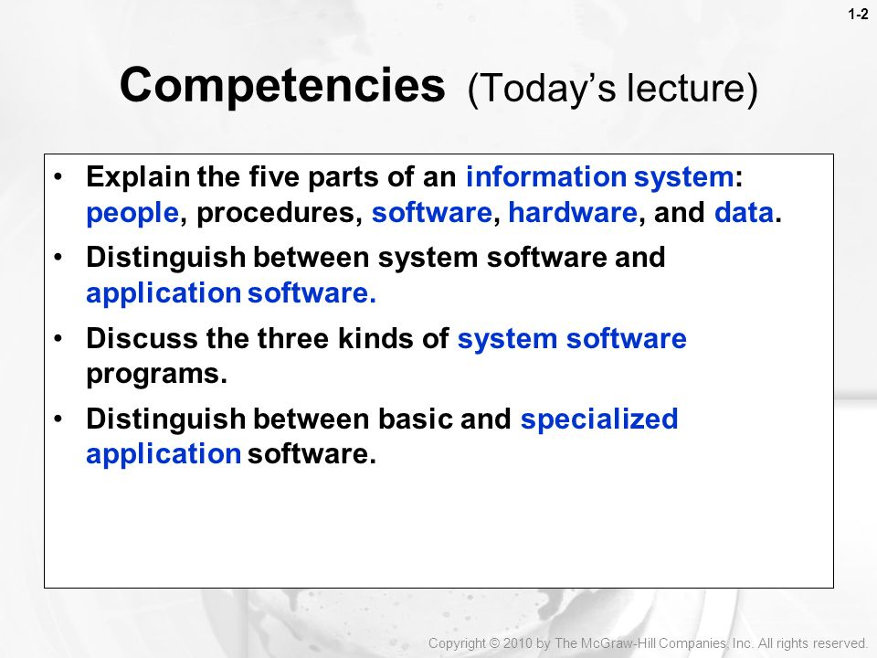 Competencies (Today's lecture)