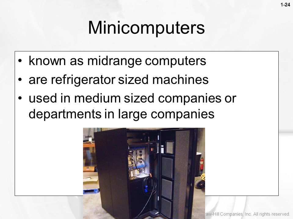 Minicomputers known as midrange computers