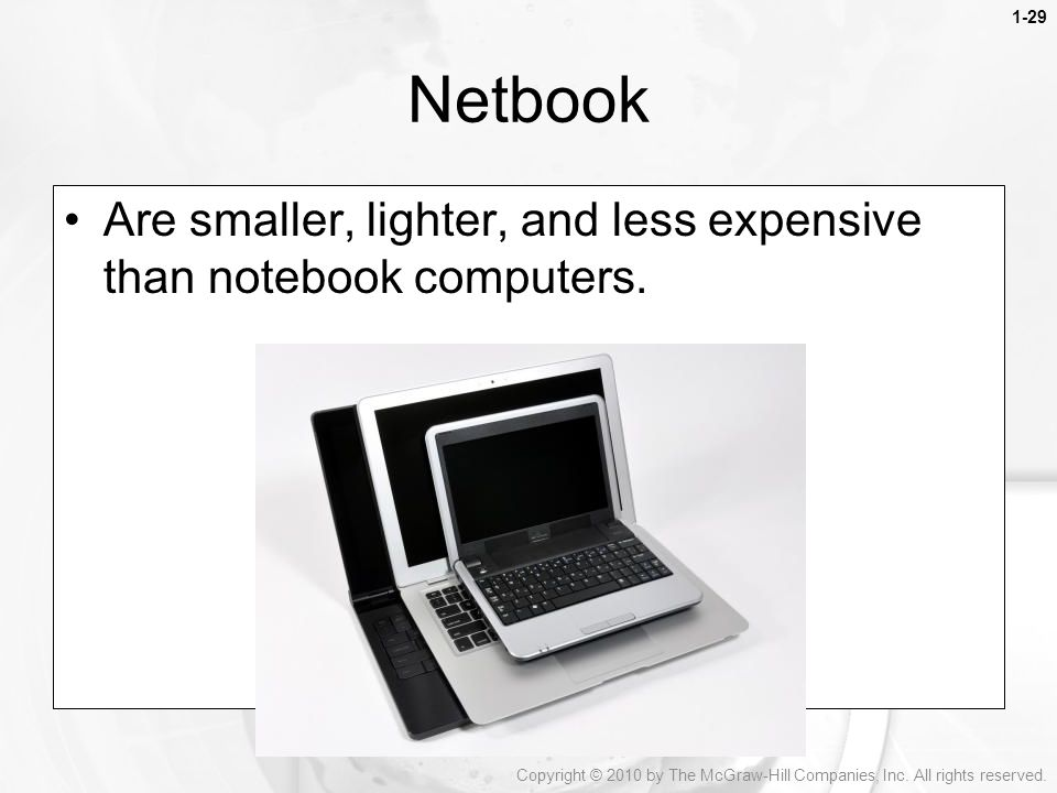 Netbook Are smaller, lighter, and less expensive than notebook computers.