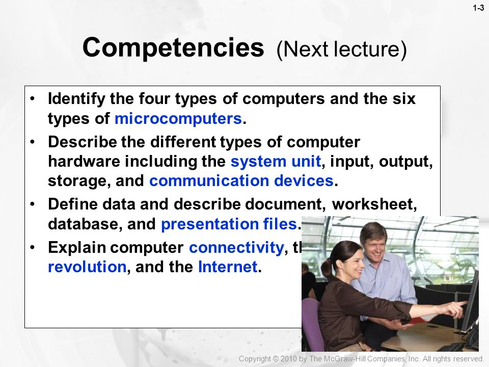 Competencies (Next lecture)