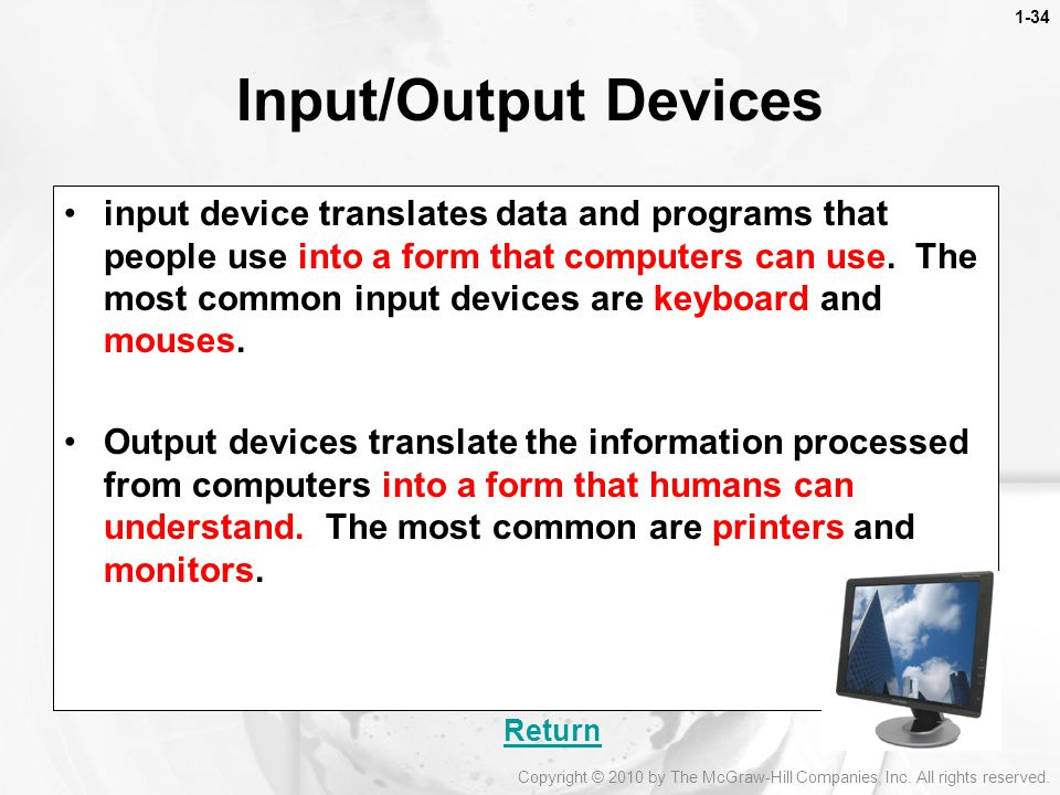 1-34 Input/Output Devices.