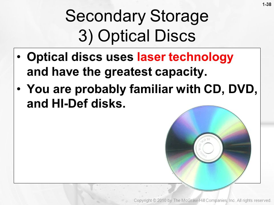 Secondary Storage 3) Optical Discs