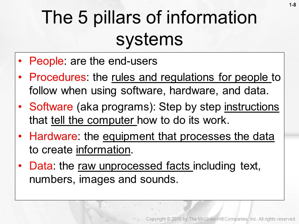 The 5 pillars of information systems