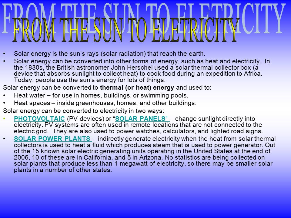 FROM THE SUN TO ELETRICITY