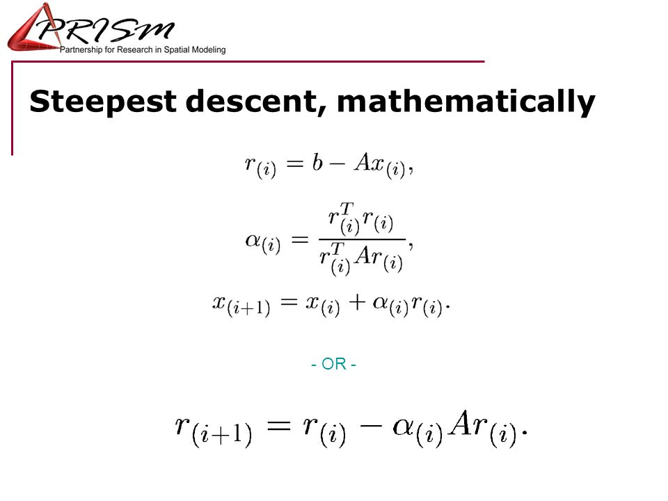 Steepest descent, mathematically