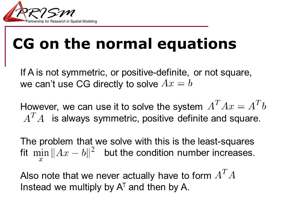 CG on the normal equations