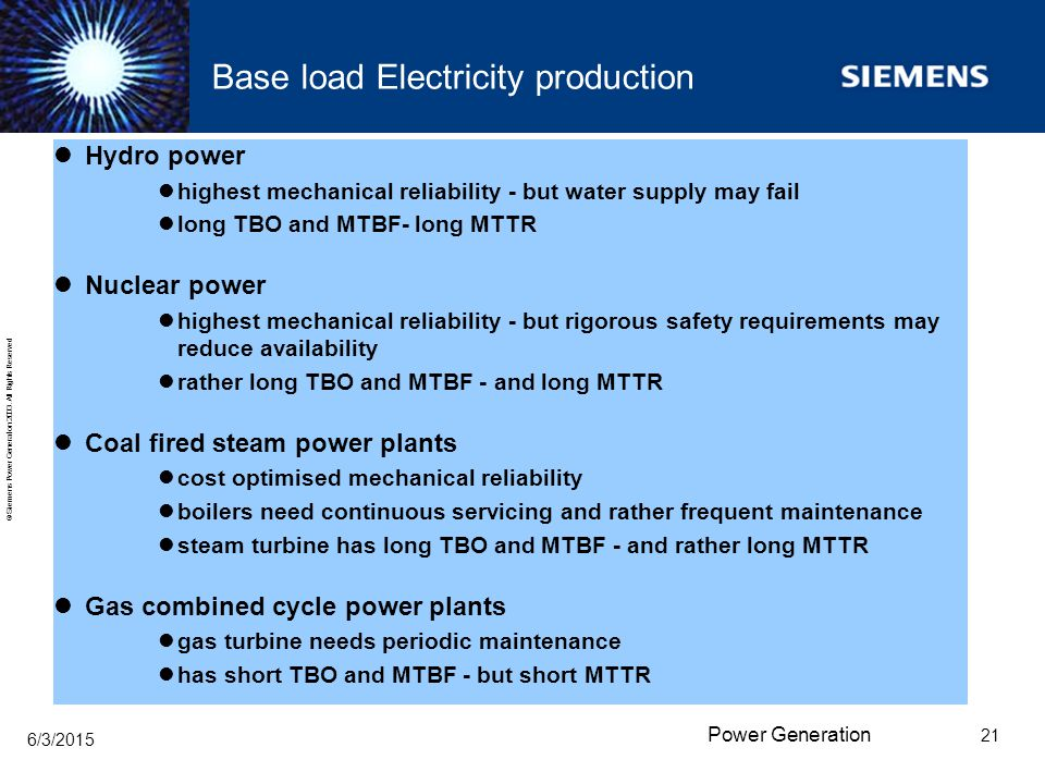 Base load Electricity production