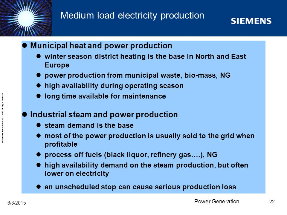 Medium load electricity production