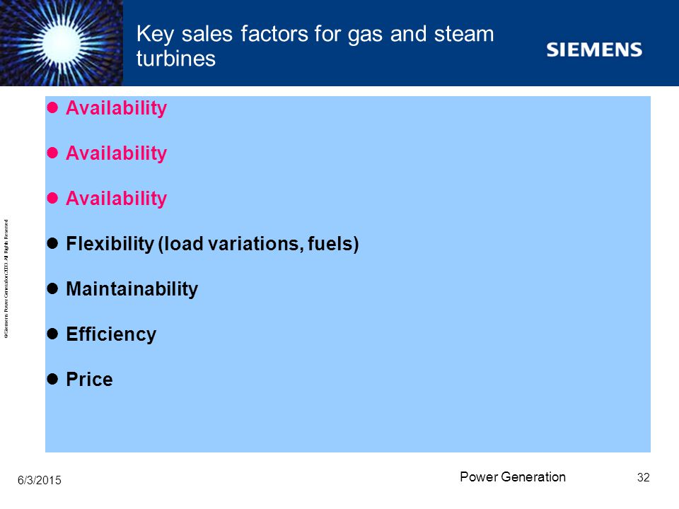 Key sales factors for gas and steam turbines