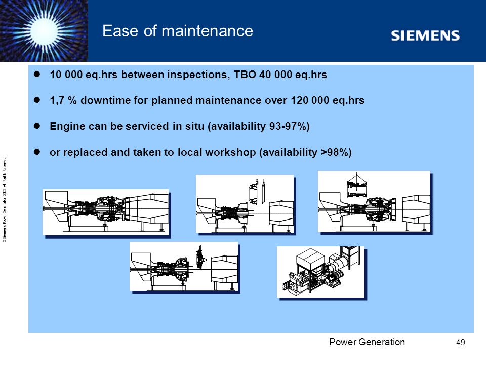 Ease of maintenance 10 000 eq.hrs between inspections, TBO 40 000 eq.hrs. 1,7 % downtime for planned maintenance over 120 000 eq.hrs.