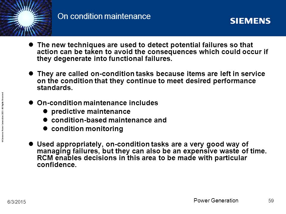 On condition maintenance