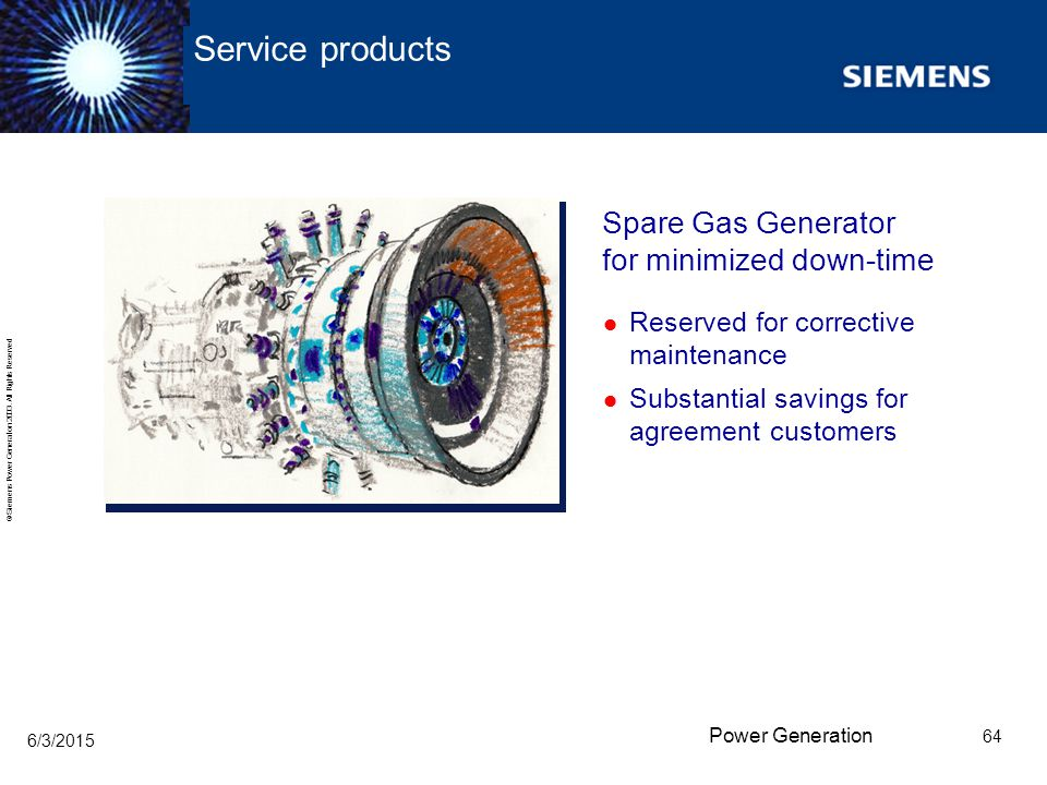Service products Spare Gas Generator for minimized down-time