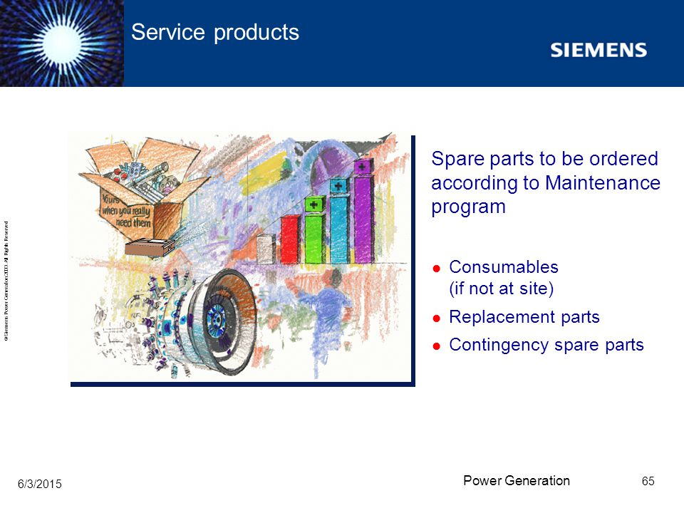 Service products Spare parts to be ordered according to Maintenance program. Consumables (if not at site)