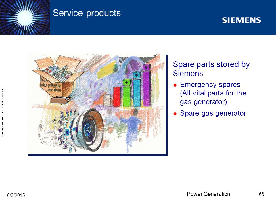 Service products Spare parts stored by Siemens