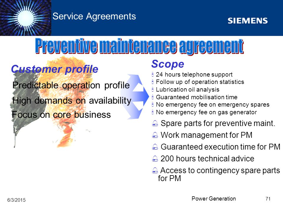Preventive maintenance agreement