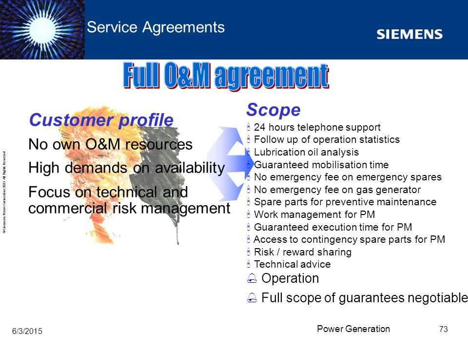 Full O&M agreement Scope Customer profile Service Agreements