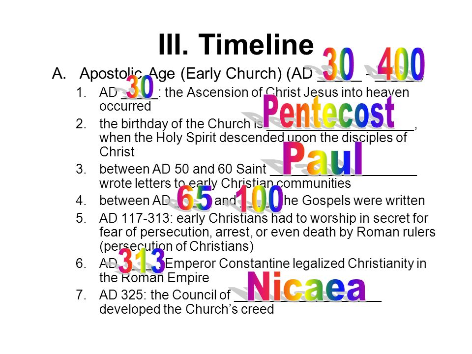 a letter to an early christian community is called 8th grade semester 8th grade semester ppt 20333 | III. Timeline 30 400 30 Pentecost Paul 65 100 313 Nicaea