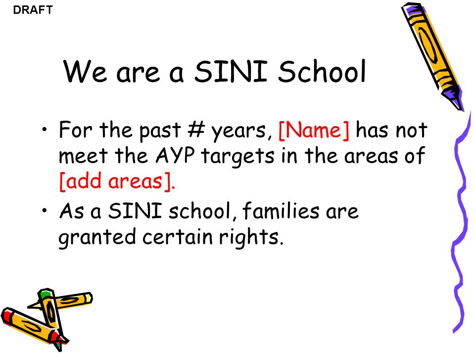 We are a SINI School For the past # years, [Name] has not meet the AYP targets in the areas of [add areas].