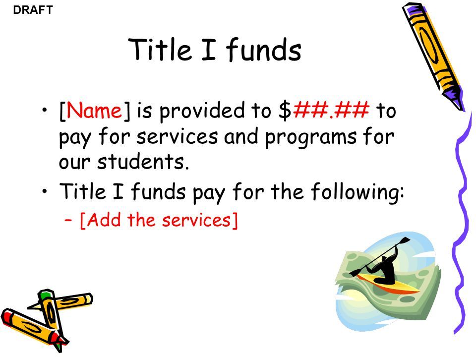 Title I funds [Name] is provided to $##.## to pay for services and programs for our students. Title I funds pay for the following: