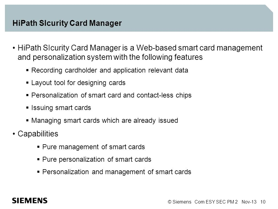 HiPath SIcurity Card Manager