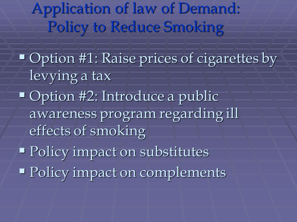 Application of law of Demand: Policy to Reduce Smoking