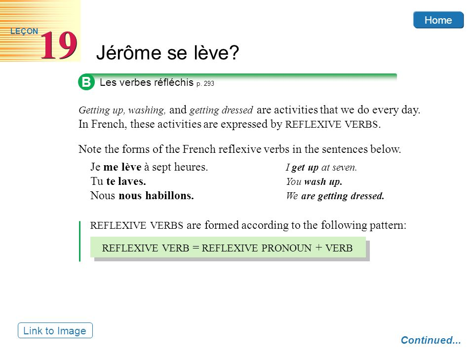 B Note the forms of the French reflexive verbs in the sentences below.