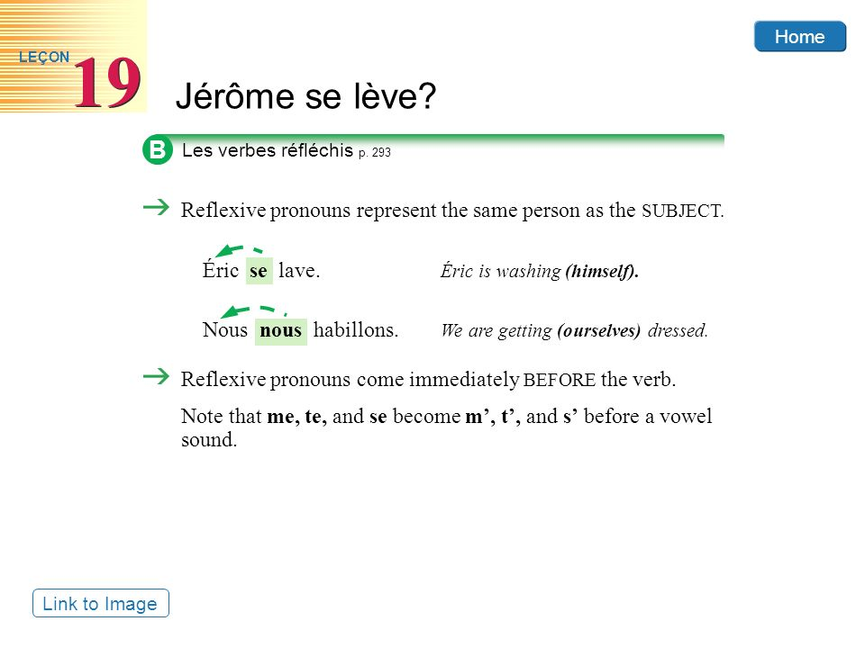 B Reflexive pronouns represent the same person as the SUBJECT.