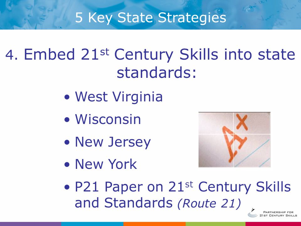 Embed 21st Century Skills into state standards:
