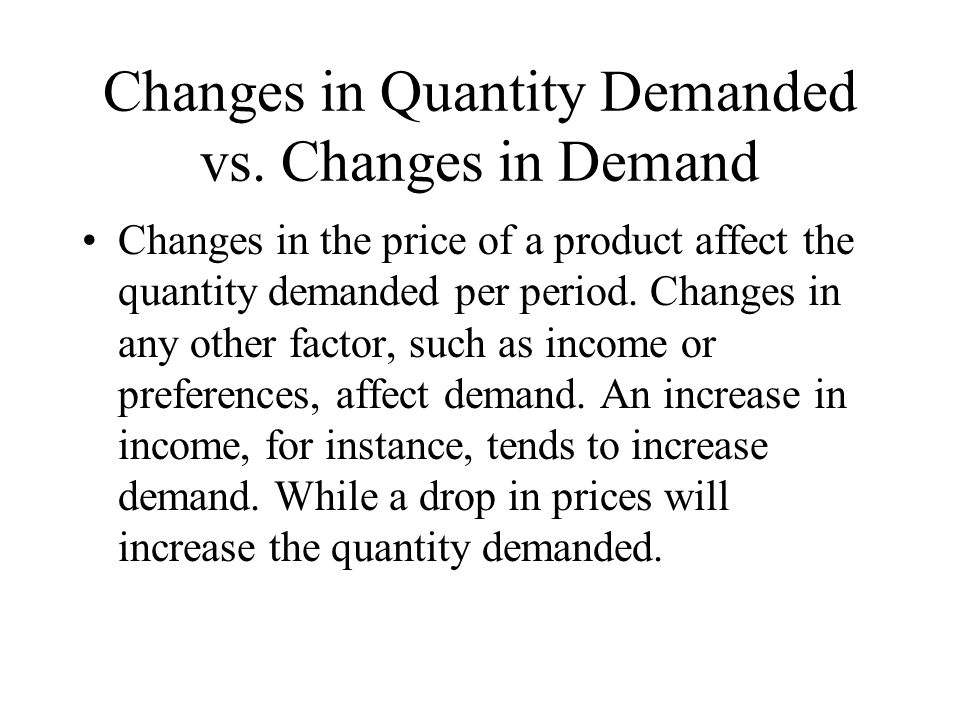 Changes in Quantity Demanded vs. Changes in Demand
