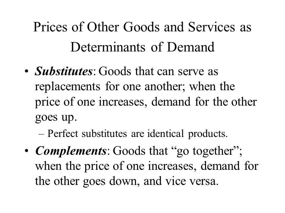 Prices of Other Goods and Services as Determinants of Demand