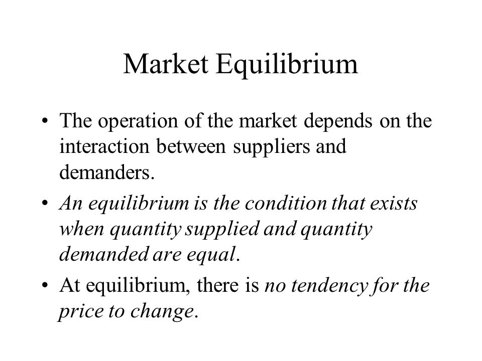 Market Equilibrium The operation of the market depends on the interaction between suppliers and demanders.