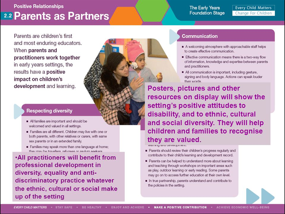 Posters, pictures and other resources on display will show the setting's positive attitudes to disability, and to ethnic, cultural and social diversity. They will help children and families to recognise they are valued.