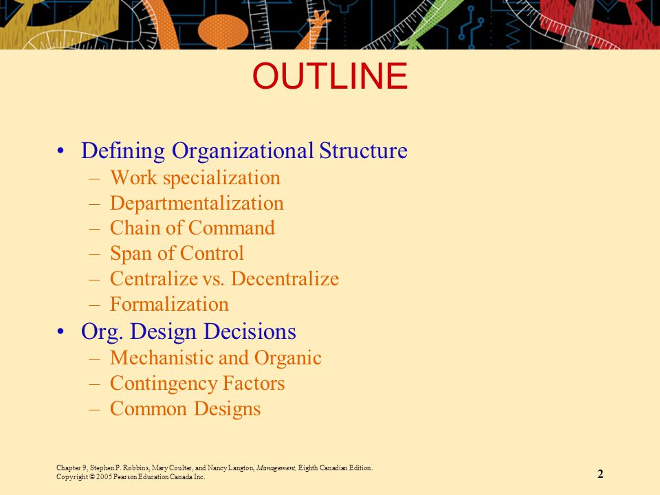 OUTLINE Defining Organizational Structure Org. Design Decisions