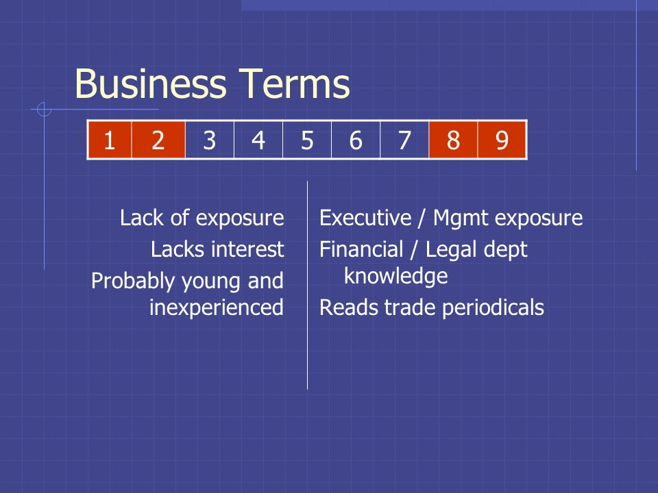 Business Terms 1 2 3 4 5 6 7 8 9 Lack of exposure Lacks interest