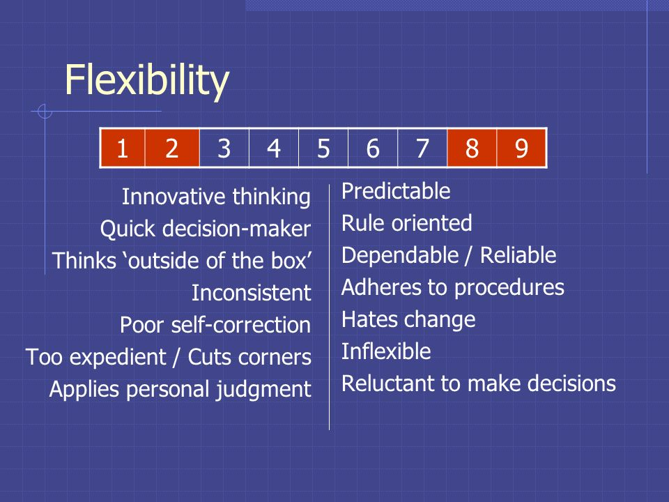 Flexibility 1 2 3 4 5 6 7 8 9 Predictable Innovative thinking