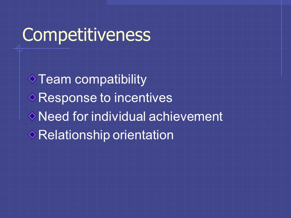 Competitiveness Team compatibility Response to incentives