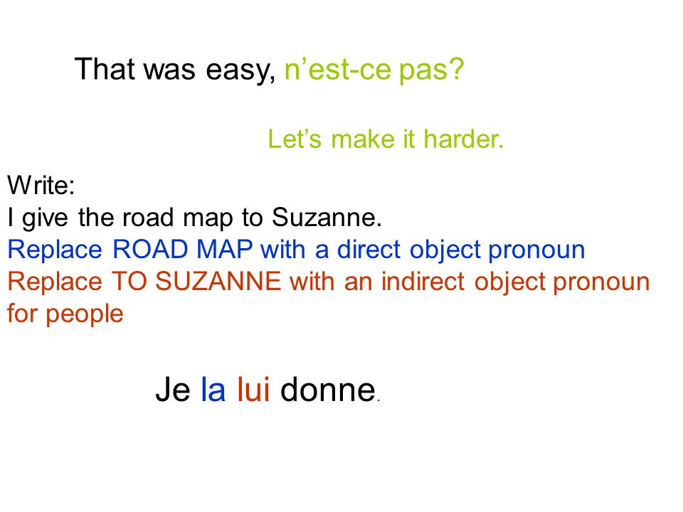 Je la lui donne. That was easy, n'est-ce pas Let's make it harder.