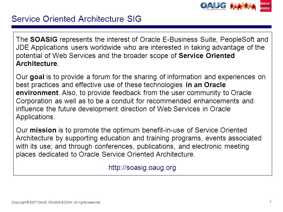 Service Oriented Architecture SIG - ppt download