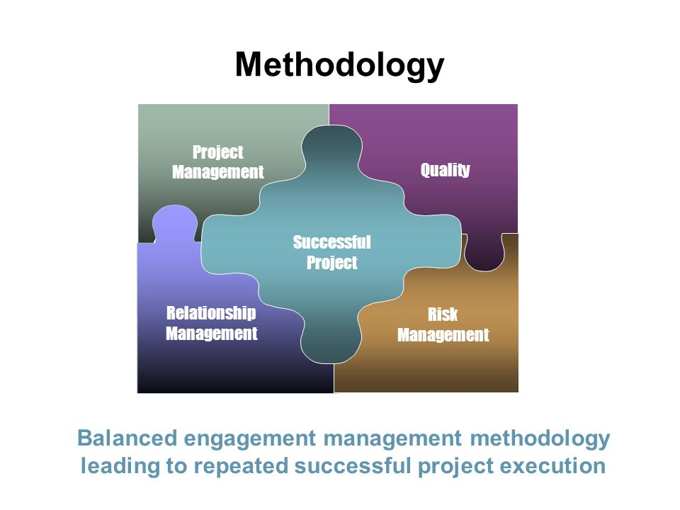 Methodology Project. Management. Quality. Relationship. Risk. Life Cycle. Successful.
