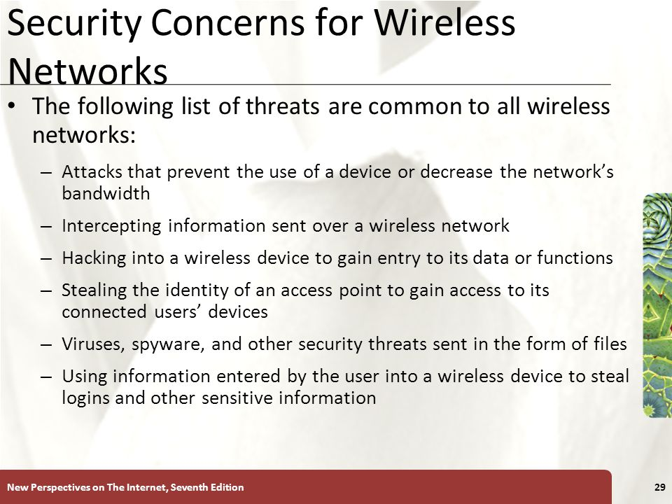 wireless security and threats Wireless lan security threats with the lower costs of ieee 80211b/g systems, it is inevitable that hackers have many more unsecured wlans from which to choose incidents have been reported of people using numerous open source applications to collect and exploit vulnerabilities in the ieee 80211 standard security mechanism, wired equivalent.