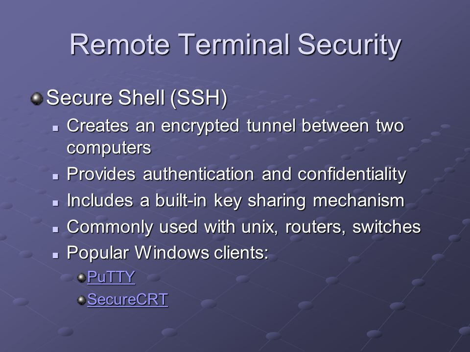 Remote Terminal Security