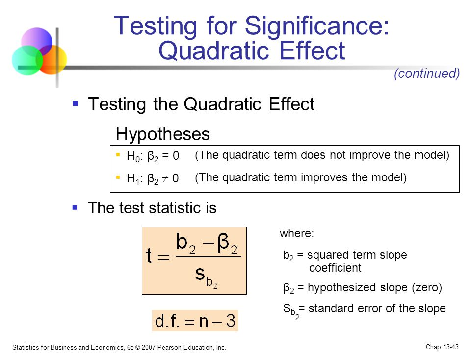 Testing for Significance: Quadratic Effect