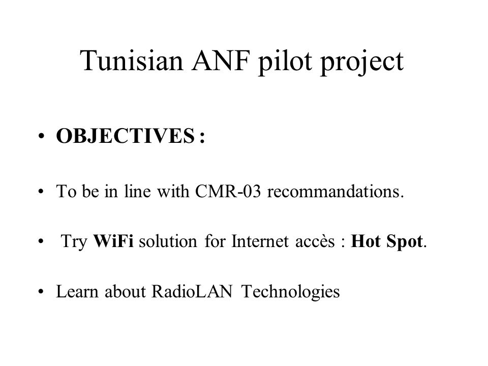 Tunisian ANF pilot project