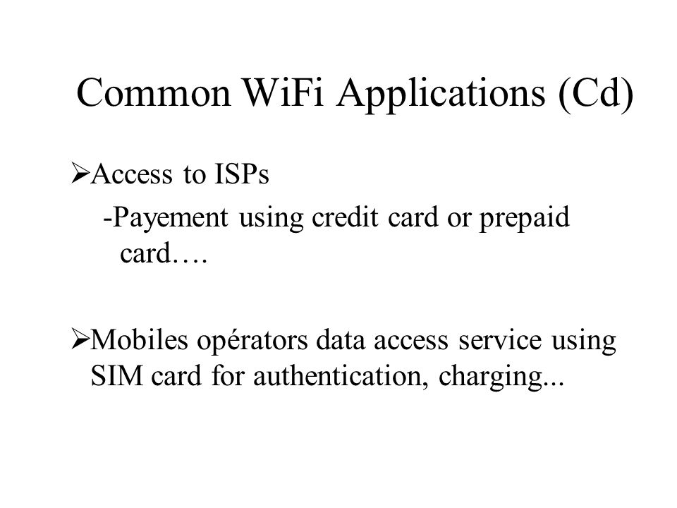 Common WiFi Applications (Cd)
