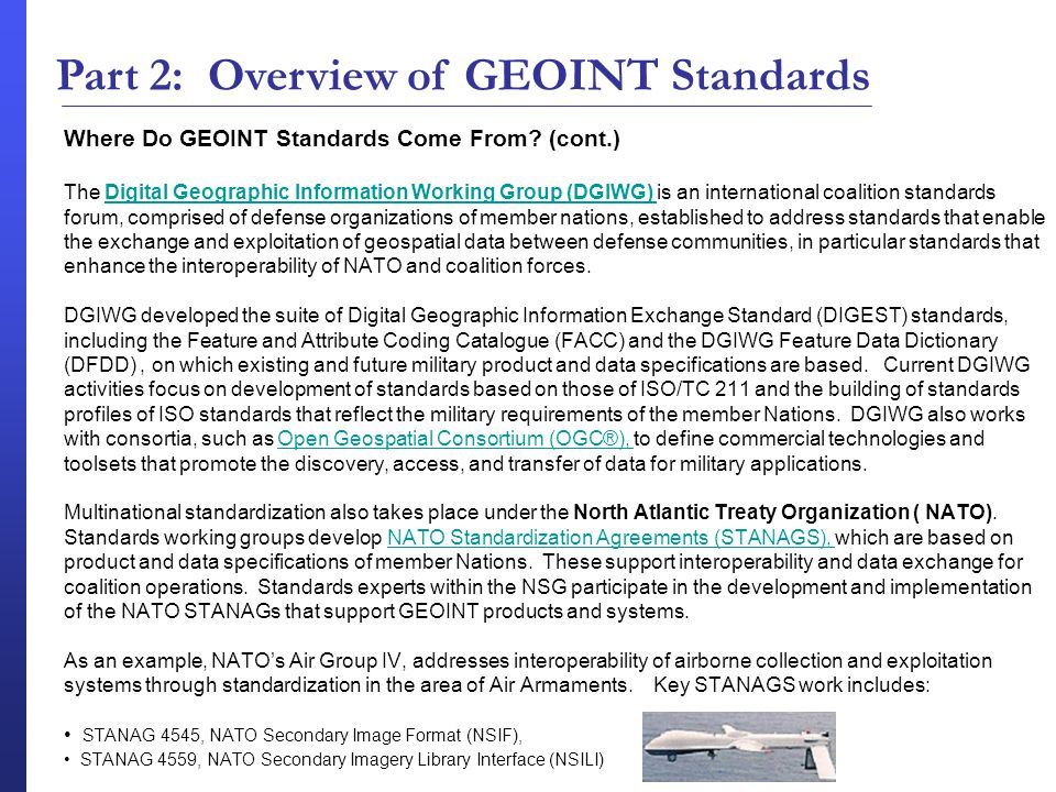 Geospatial Intelligence Standards The Basics Part 2 Overview Of