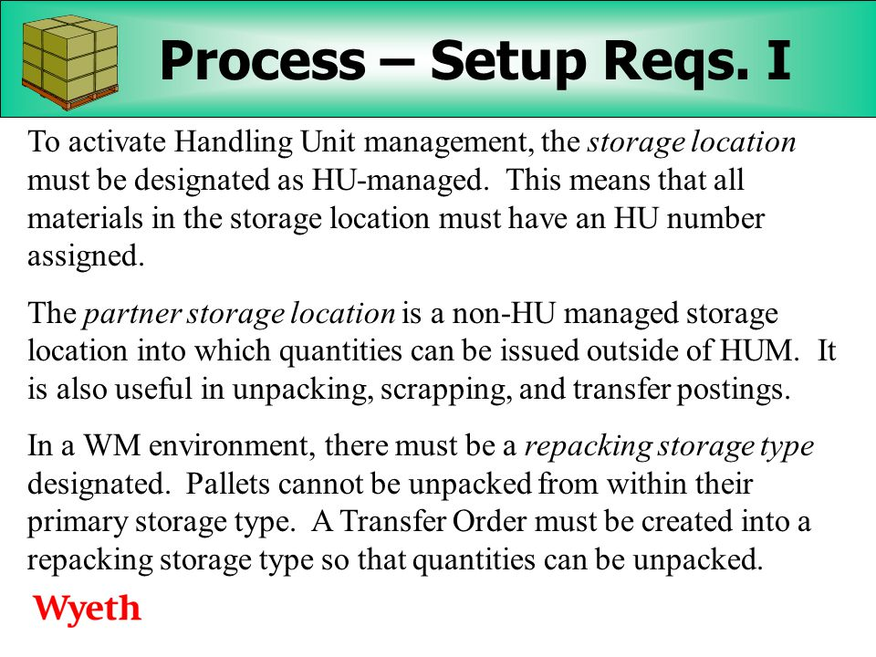 Wyeth's Experiences with Handling Unit Management - ppt