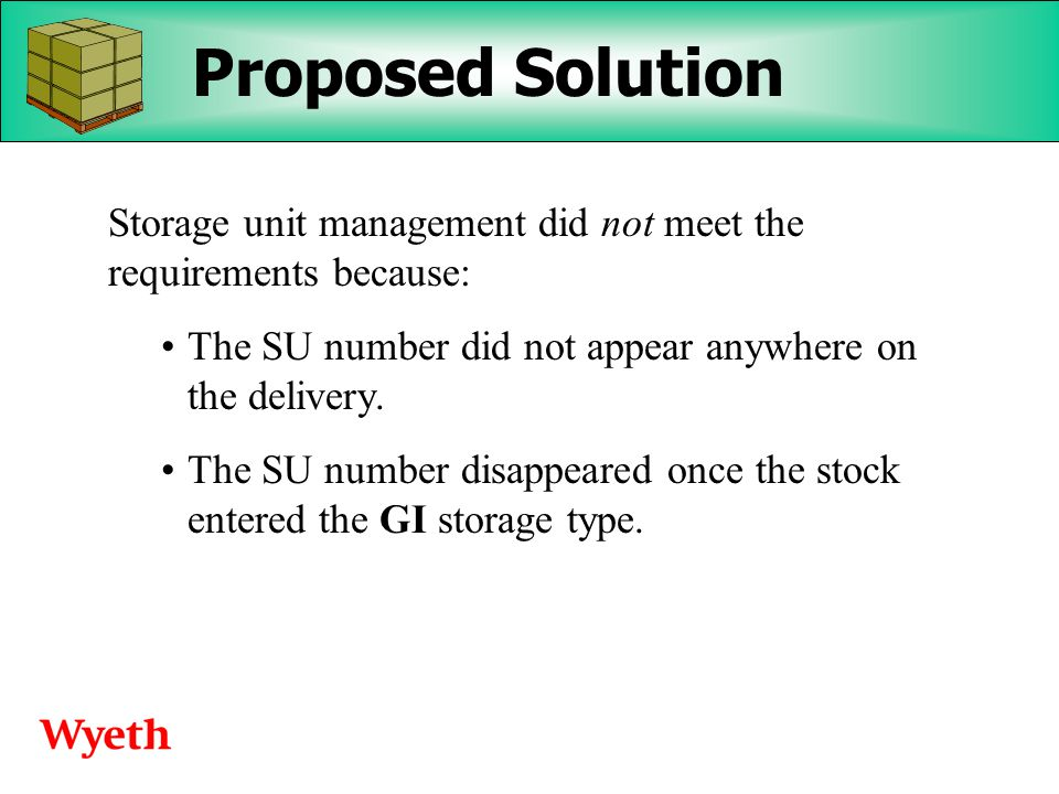 Wyeth's Experiences with Handling Unit Management